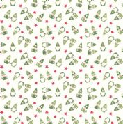 Lewis & Irene - Hygge Christmas - 5983 - Scattered Elves, Green on White - C29.1 - Cotton Fabric